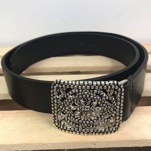 Fossil black genuine leather belt silver buckle